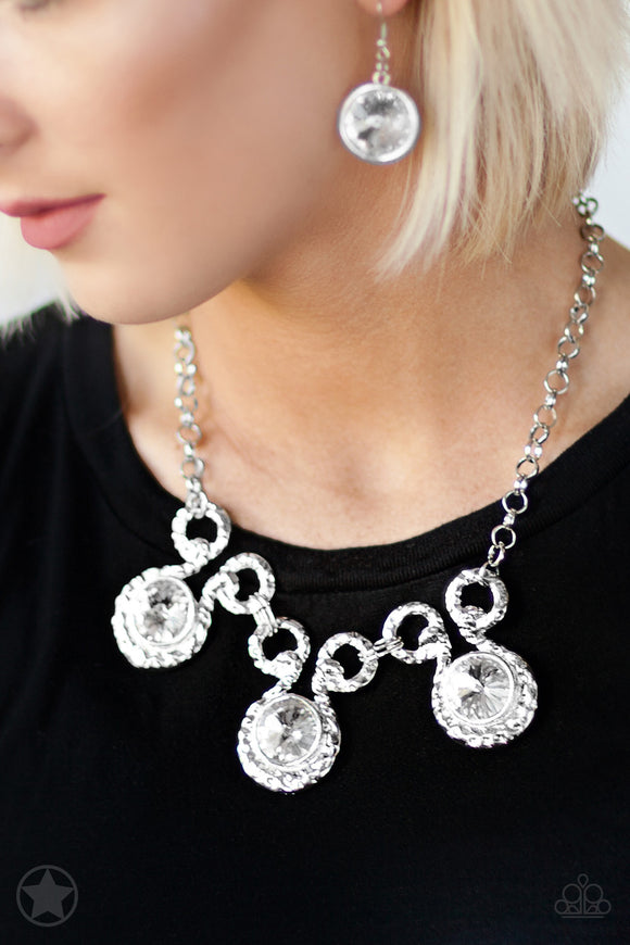 Paparazzi Hypnotized - Silver Rhinestones - Blockbuster Necklace & Earrings - Lauren's Bling $5.00 Paparazzi Jewelry Boutique