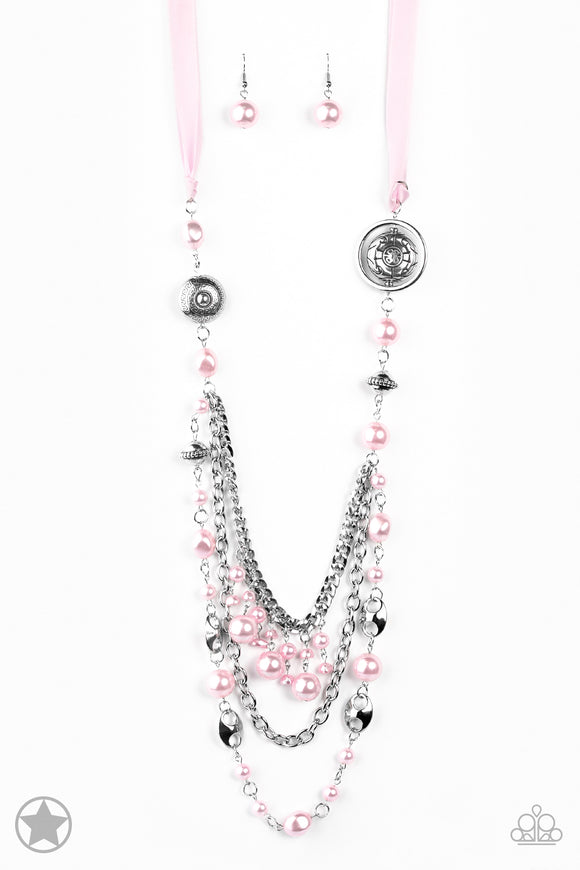 Paparazzi All The Trimmings - Pink Blockbuster Necklace and matching Earrings - Lauren's Bling $5.00 Paparazzi Jewelry Boutique