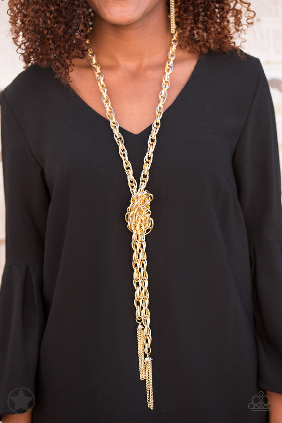 Paparazzi SCARFed for Attention - Gold - Necklace & Earrings - Blockbuster Exclusive - Lauren's Bling $5.00 Paparazzi Jewelry Boutique
