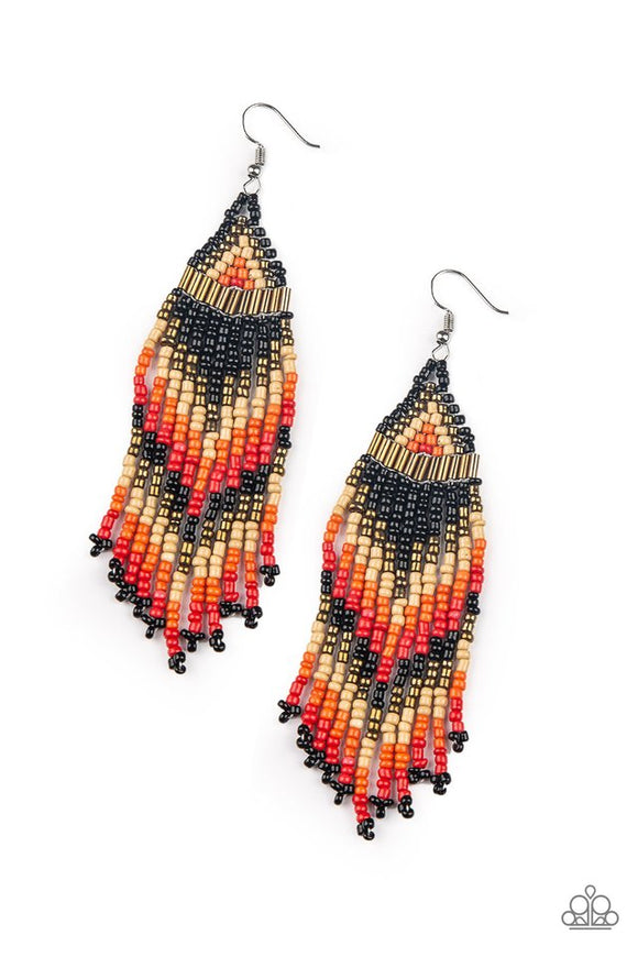 Paparazzi Colors Of The Wind - Black - Seed Bead Earrings - Life of the Party Exclusive March 2019