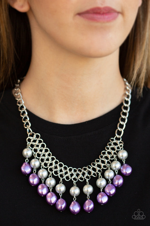 Paparazzi 5th Avenue Fleek - Multi - Silver and Purple Pearls - Necklace & Earrings - Lauren's Bling $5.00 Paparazzi Jewelry Boutique