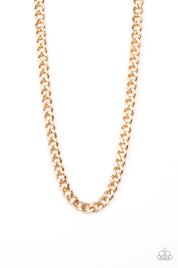 Paparazzi Alpha - Gold - Thick Curb Chain - Necklace - Men's Collection - Lauren's Bling $5.00 Paparazzi Jewelry Boutique