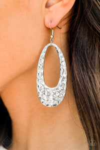 Paparazzi Artisan Abundance - Silver - Hammered Oval Silver Hoop Earrings - Fashion Fix Exclusive September 2019 - Lauren's Bling $5.00 Paparazzi Jewelry Boutique
