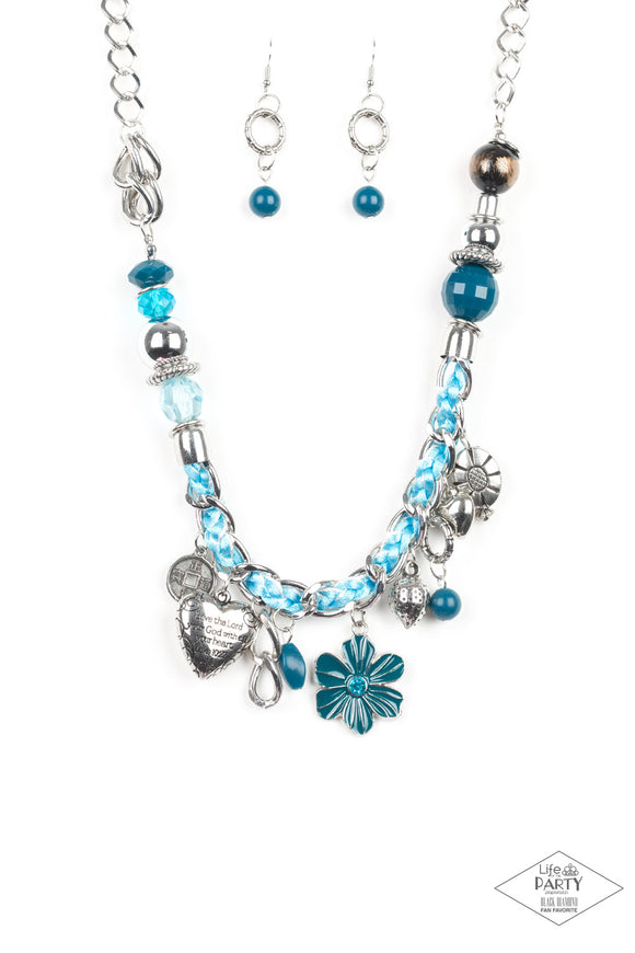 Pre-Order Ships 4/6 Paparazzi Charmed, I Am Sure - Blue - LOP Black Diamond Exclusive Necklace -