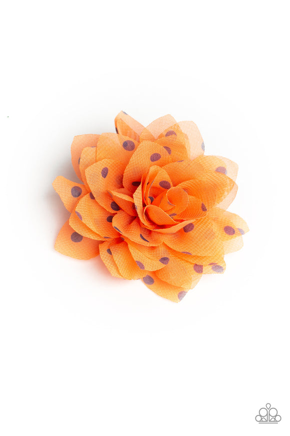 Paparazzi Dot Dot Dot - Orange - Polka Dots - Chiffon Petals - Hair Clip
