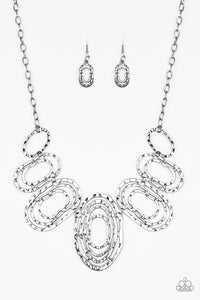 Paparazzi Empress Impressions - Silver - Hammered Rings - Necklace and matching Earrings - Lauren's Bling $5.00 Paparazzi Jewelry Boutique