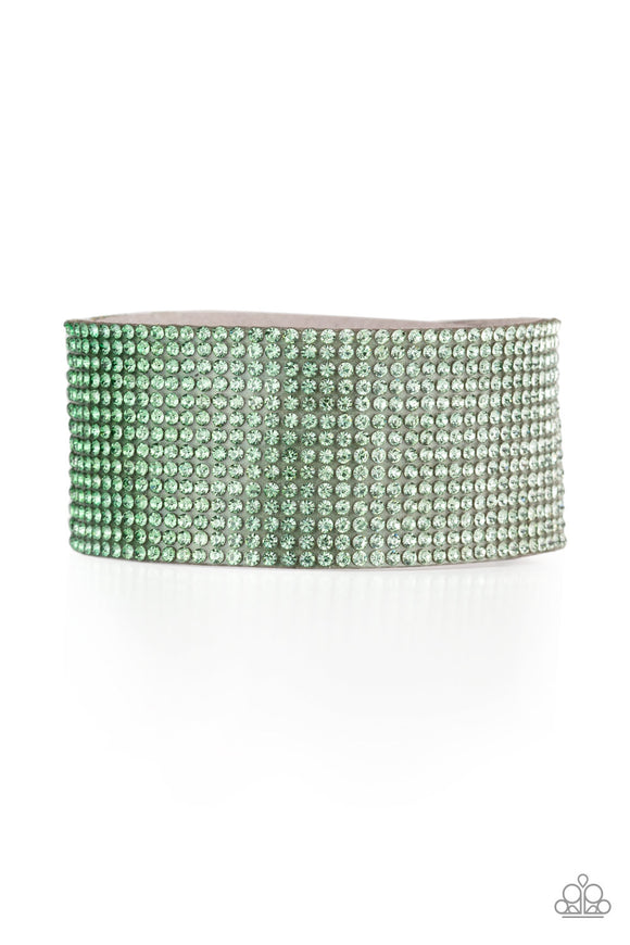 Paparazzi Fade Out - Green - Rhinestones fade from light to dark Green - Ombre - Bracelet