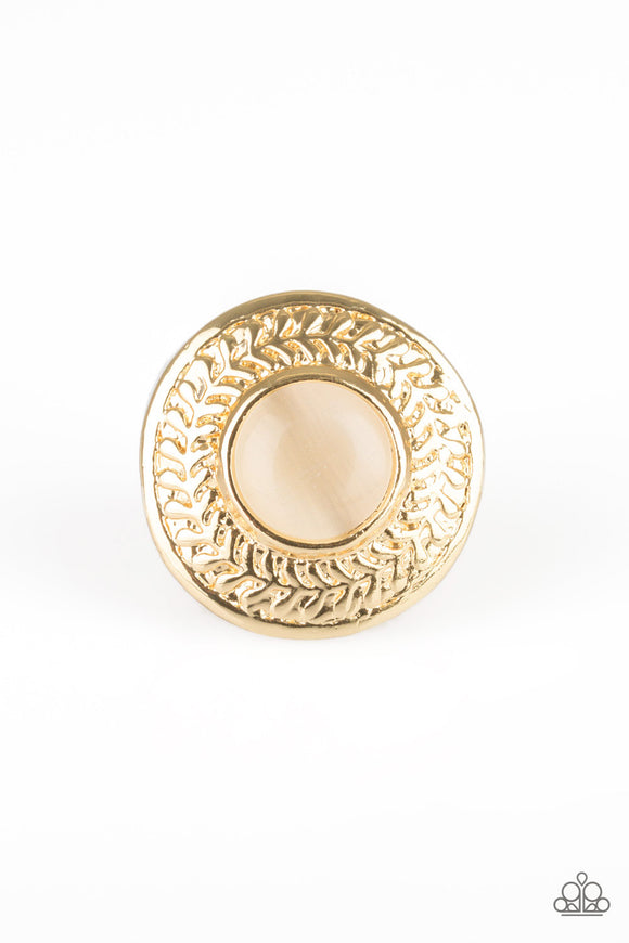 Paparazzi Garden Garland - Gold Moonstone - Leafy Pattern - Gold Ring