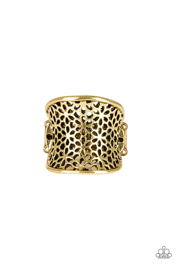 Paparazzi Garden Safari - Brass - Floral Pattern - Ring