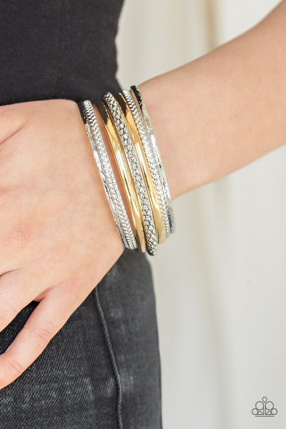 Paparazzi Hit The STACK - Silver - Gold - Textured Set of 7 Bangle Bracelets - Lauren's Bling $5.00 Paparazzi Jewelry Boutique