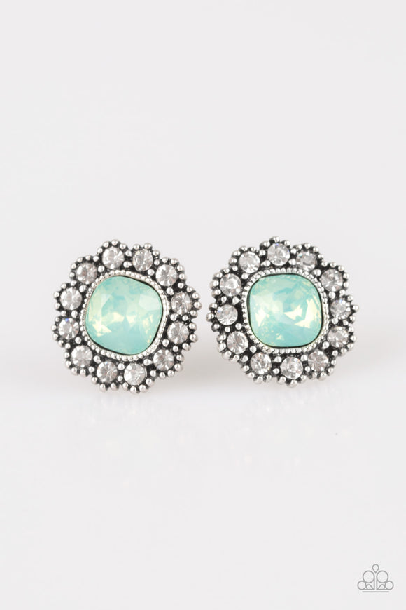 Paparazzi Little Lady - Green Moonstone - White Rhinestones - Silver Post Earrings