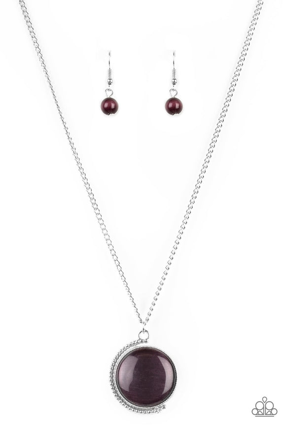 Paparazzi Luminous Lagoon - Purple Moonstone - Silver Necklace and matching Earrings - Lauren's Bling $5.00 Paparazzi Jewelry Boutique