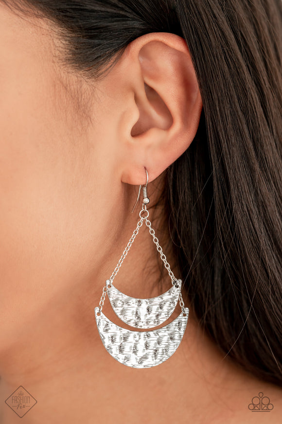 Paparazzi Moon Landings - Silver - Hammered Earrings - Fashion Fix / Trend Blend Exclusive August 2019 - Lauren's Bling $5.00 Paparazzi Jewelry Boutique