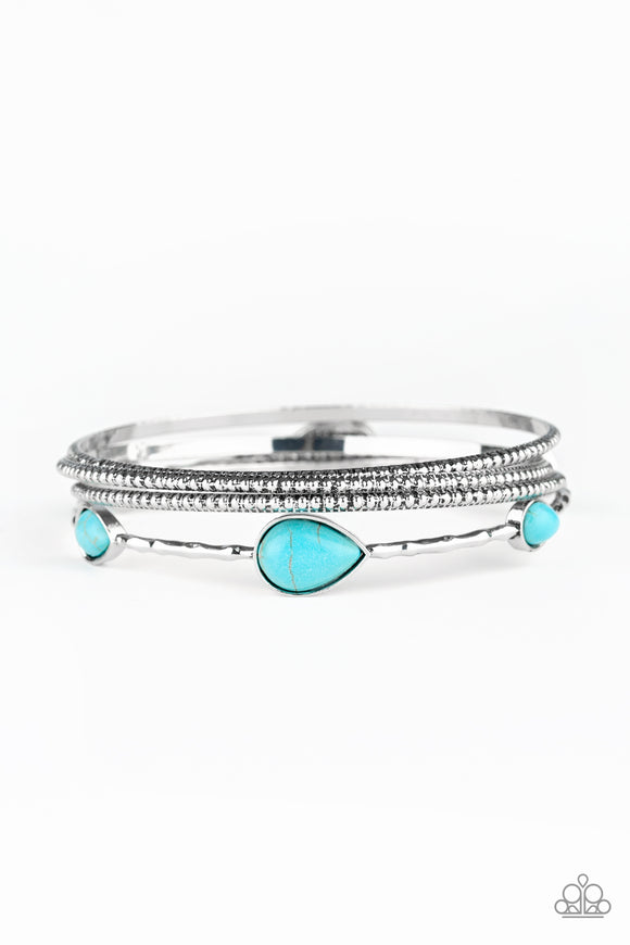 Paparazzi Sandstone Storm - Blue Turquoise Stone - Set of 4 Bangle Bracelets - Lauren's Bling $5.00 Paparazzi Jewelry Boutique