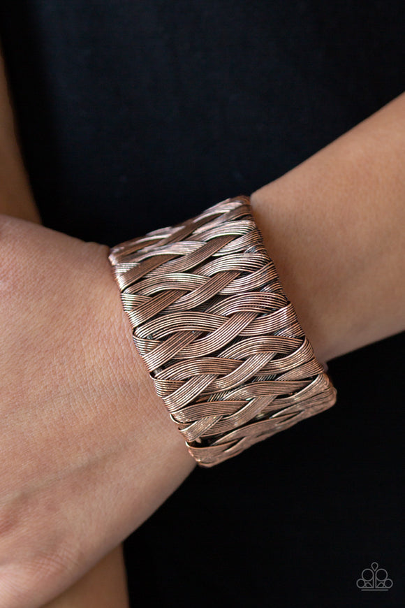 Paparazzi Take It or WEAVE It - Copper - Antiqued Shimmer - Wire Bars Weave - Edgy Cuff Bracelet - Lauren's Bling $5.00 Paparazzi Jewelry Boutique