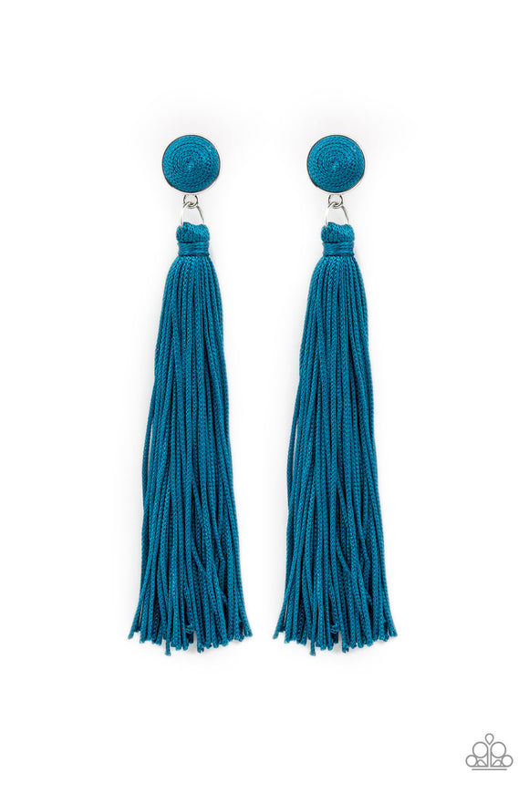 Paparazzi Tightrope Tassel - Blue - Cording Thread / Tassel / Fringe - Post Earrings