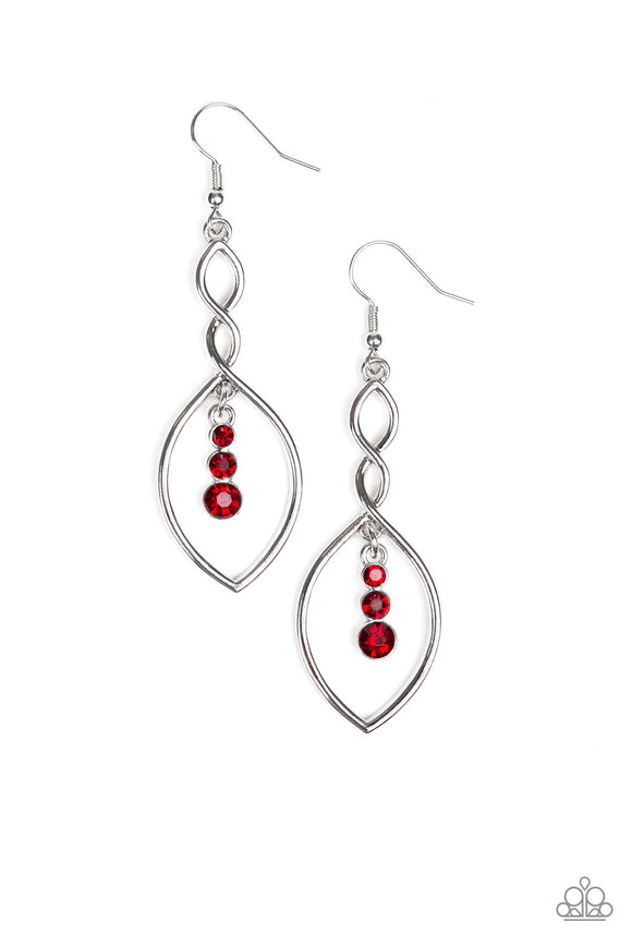 Paparazzi Timeless Twist - Red Rhinestones - Silver Earrings - Lauren's Bling $5.00 Paparazzi Jewelry Boutique