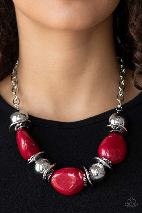 Paparazzi Vivid Vibes - Red Beads - Shiny Silver Beads - Necklace & Earrings - Lauren's Bling $5.00 Paparazzi Jewelry Boutique