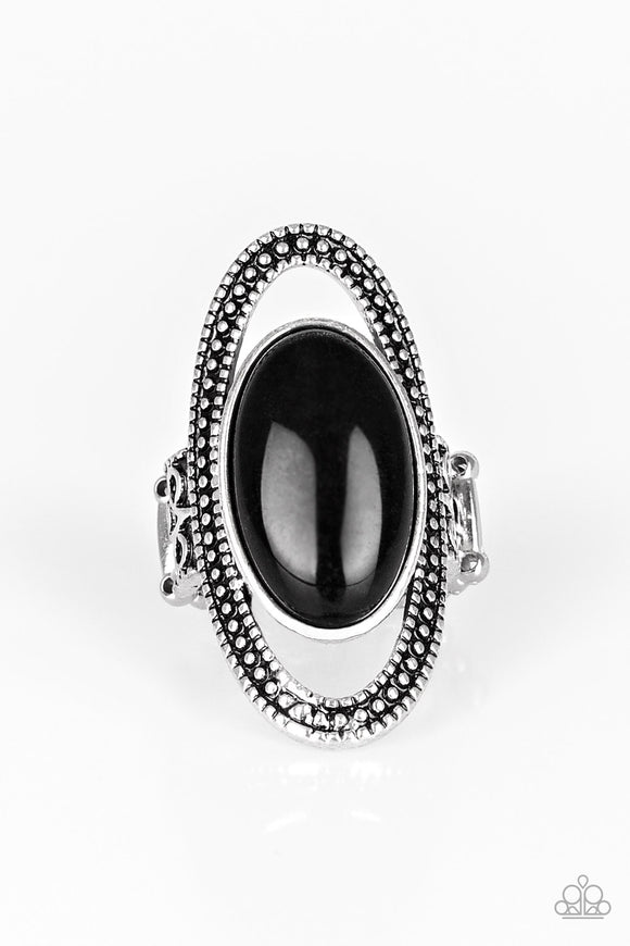 Paparazzi Western Royalty - Black Stone - Silver Ring