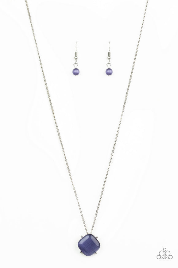 Paparazzi You GLOW Girl - Purple Moonstone - Silver Chain Necklace and matching Earrings