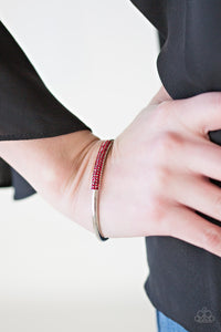 Paparazzi CACHE Only - Red Rhinestones - Silver Cuff Bracelet - Lauren's Bling $5.00 Paparazzi Jewelry Boutique