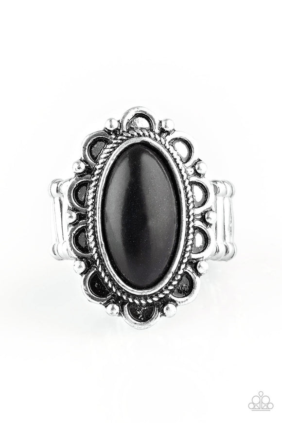 Paparazzi Desert Grotto - Black Stone - Silver Floral Frame Antiqued Textures - Ring - Lauren's Bling $5.00 Paparazzi Jewelry Boutique
