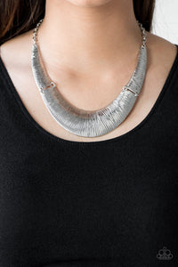 Paparazzi Feast or Famine - Silver - Plates Crescent - Necklace & Earrings - Lauren's Bling $5.00 Paparazzi Jewelry Boutique
