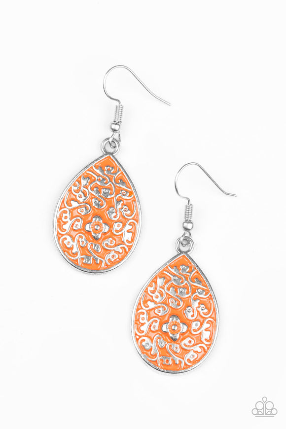 Paparazzi Flirty Flower Girl - Orange - Floral Filigree - Silver Teardrop Earrings - Lauren's Bling $5.00 Paparazzi Jewelry Boutique