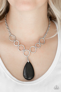 Paparazzi Livin On A PRAIRIE - Black Stone - Silver Necklace & Earrings - Lauren's Bling $5.00 Paparazzi Jewelry Boutique