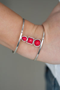 Paparazzi Sahara Siren - Red Teardrop Beads - Silver Cuff Bracelet - Lauren's Bling $5.00 Paparazzi Jewelry Boutique
