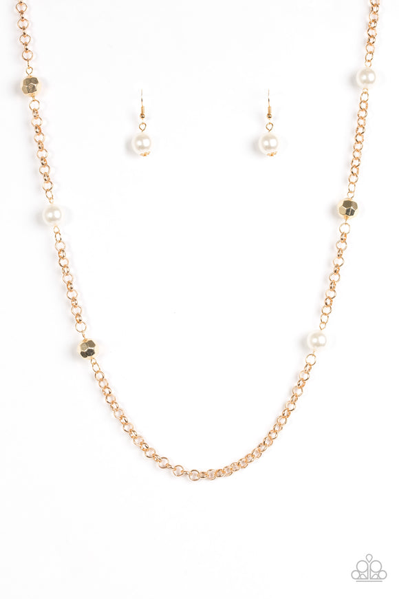Paparazzi Showroom Shimmer - Gold Bold Chain - White Beads - Necklace and matching Earrings - Lauren's Bling $5.00 Paparazzi Jewelry Boutique