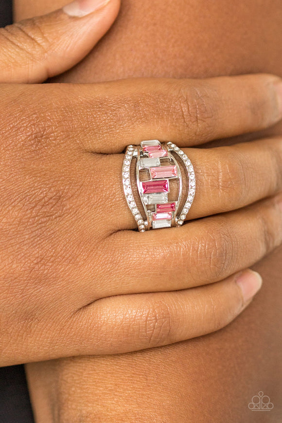 Paparazzi Treasure Chest Charm - Pink - and White Rhinestones - Emerald Cut - Silver Ring - Lauren's Bling $5.00 Paparazzi Jewelry Boutique