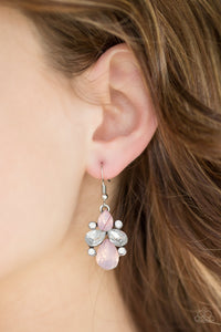Paparazzi Wonderland Waltz - Pink - White Rhinestones / Opals - Silver Earrings - Lauren's Bling $5.00 Paparazzi Jewelry Boutique