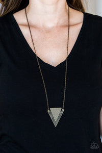 Paparazzi Ancient Arrow - Brass - Studded Indigenous Textures - Necklace & Earrings - Lauren's Bling $5.00 Paparazzi Jewelry Boutique