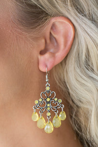 Paparazzi Dip It GLOW - Yellow - Teardrops - Rhinestones - Silver Frame Earrings - Lauren's Bling $5.00 Paparazzi Jewelry Boutique