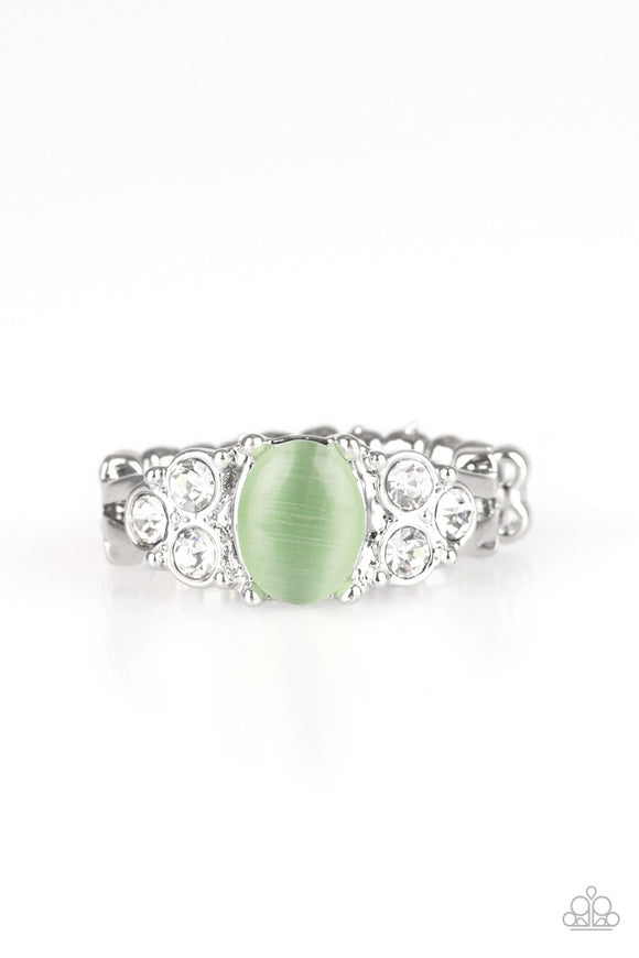 Paparazzi Extra Spark-tacular - Green Moonstone - White Rhinestones - Silver Ring - Lauren's Bling $5.00 Paparazzi Jewelry Boutique
