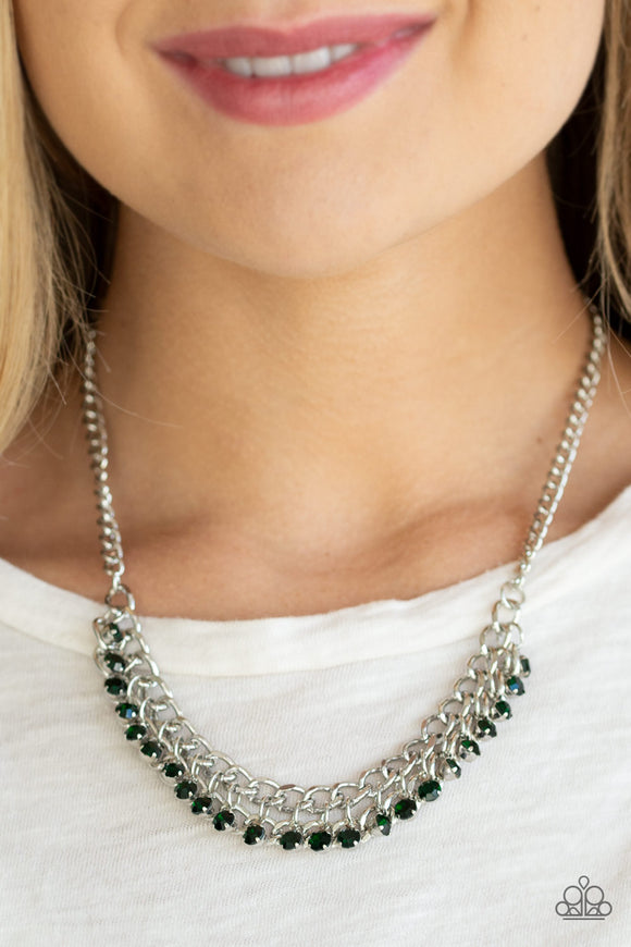 Paparazzi Glow and Grind - Green Rhinestones - Bold Silver Chain Necklace and matching Earrings - Lauren's Bling $5.00 Paparazzi Jewelry Boutique