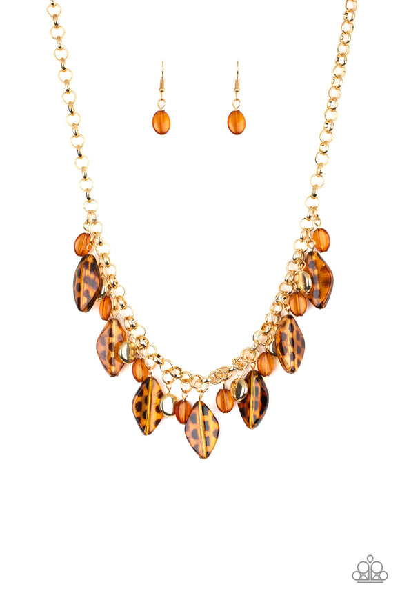 Paparazzi Hissy Fit - Brown - Spotted Beads - Gold Chain Necklace and matching Earrings