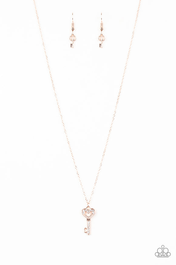 Paparazzi Lock Up Your Valuables - Rose Gold - Key Pendant - Necklace and matching Earrings