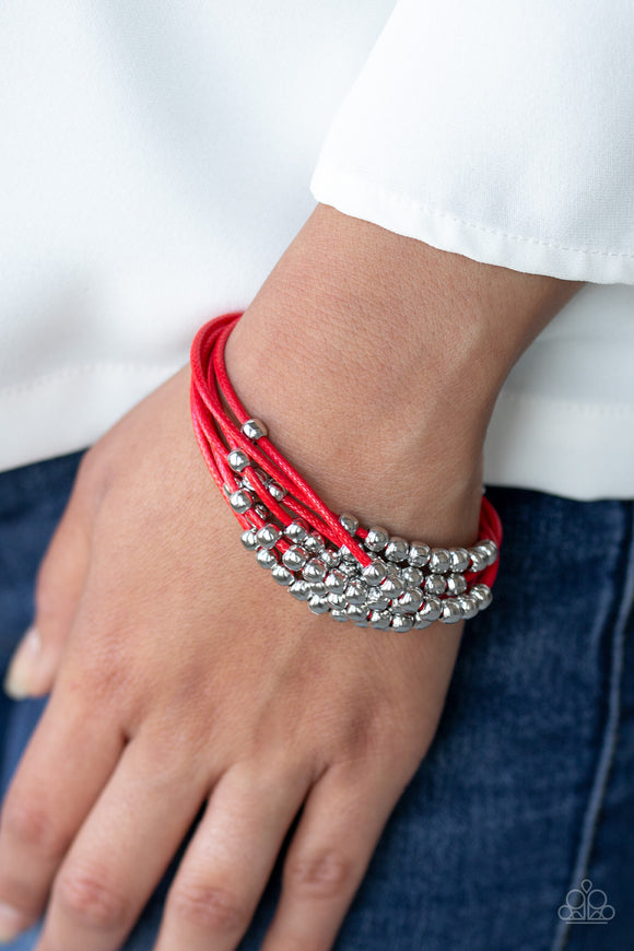 Paparazzi Mega Magnetic - Red Cords - Silver Beads - Magnetic Closure - Bracelet - Lauren's Bling $5.00 Paparazzi Jewelry Boutique