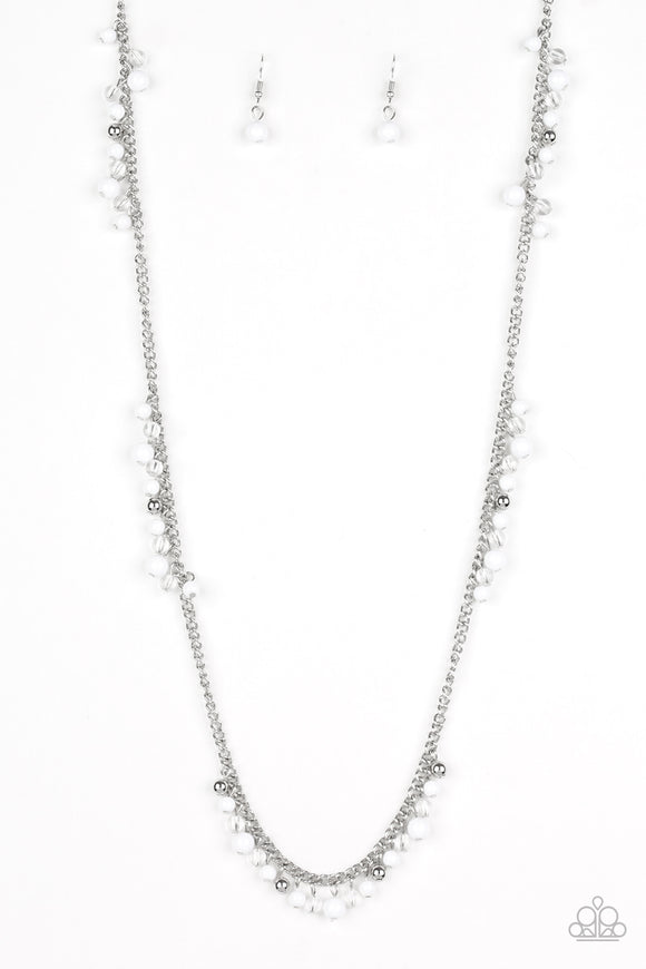 Paparazzi Miami Mojito - White Beads - Silver Chain Necklace and matching Earrings