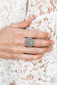 Paparazzi Modern Mandala - Silver - Ornate Teardrop Patterns - Ring - Fashion Fix Exclusive October 2019 - Lauren's Bling $5.00 Paparazzi Jewelry Boutique