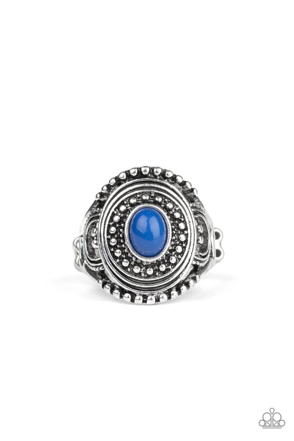 Paparazzi Oasis Moon - Blue Bead - Silver Ring - Lauren's Bling $5.00 Paparazzi Jewelry Boutique
