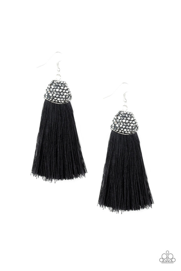 Paparazzi Razzle Riot - Black - Thread / Fringe / Tassel - Rhinestones - Earrings