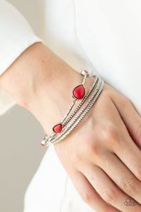 Paparazzi Sandstone Storm - Red Stone - Set of 4 Bracelets - Lauren's Bling $5.00 Paparazzi Jewelry Boutique