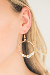 Paparazzi Self-Made Millionaire - Gold - White Rhinestones - Hoop Earrings - Lauren's Bling $5.00 Paparazzi Jewelry Boutique
