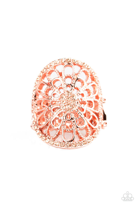 Paparazzi Springtime Shimmer - Copper - Peach Rhinestones - Filigree Ring - Lauren's Bling $5.00 Paparazzi Jewelry Boutique