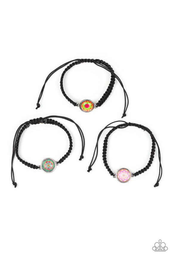 Paparazzi Starlet Shimmer Girls Bracelets - 10 - Black Braided Slip Knot Closure - Multi color Charm