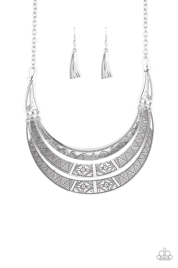 Paparazzi Take All You Can GATHERER - Silver - Half-Moon Plates - Necklace and matching Earrings - Lauren's Bling $5.00 Paparazzi Jewelry Boutique