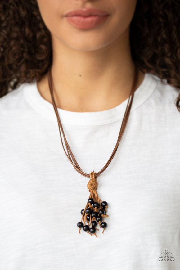 Paparazzi Tassel Trek - Black Beaded Tassel - Brown Cording - Sliding Knot Closure - Necklace - Lauren's Bling $5.00 Paparazzi Jewelry Boutique